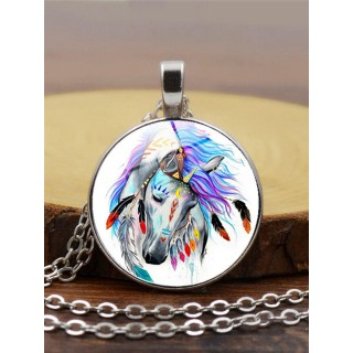 Oil color horse grain time gemstone necklace pend t jewelry