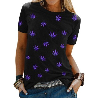 Black Floral Casual Cotton Crew Neck Shirts   Tops