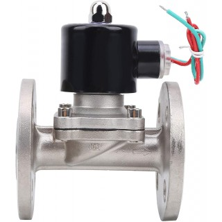 Goick Solenoid Valve-Solenoid Valve Stainless Steel Flange Connection NBR NC Direct-Acting 1/2 inch (2W-160-15BF)(DC12V)