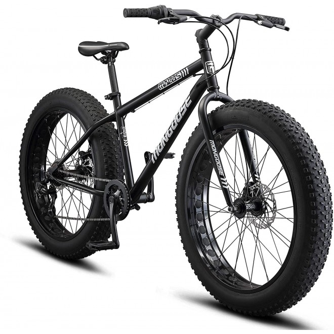 Mongoose Malus Adult Fat Tire Mountain Bike, 26-Inch Wheels, 7-Speed, Twist Shifters, Steel Frame, Mechanical Disc Brakes, Multiple Colors
