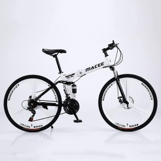 24 Inch Adult Mountain Bikes Folding Bike Non-Slip Bicycles, Fast-Speed Comfortable Outroad Racing Cycling, 21-Speed  Dual Disc Brakes Mountain Bicycle for Teens Men Women
