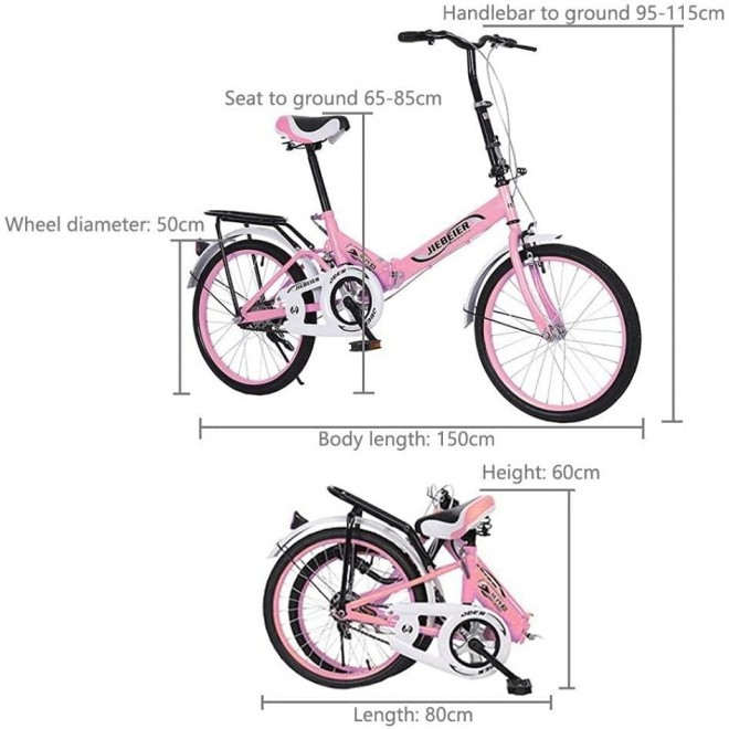 BMX Bikes 20 Inch Folding Bike for Adults 7 Speed City Cycling Bike Ultra-Light Portable Foldable Leisure Bicycles for Women Men and Teens,Students,Office Workers [US in Stock]