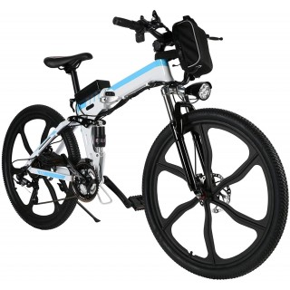 26 inch Folding Electric Bike Electric Mountain Bike with 36V Lithium-Ion Battery 250W Motor, 21 Speed Gear and 3 Working Modes Electric Bicycle