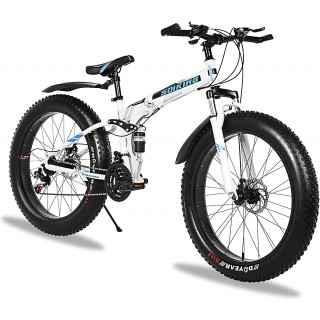 26 Inch 21 Speed Fat Tire Mountain Bike, Non-Slip Adult Mountain Bikes with Double Suspension & Dual Disc Brakes, High-Carbon Steel Fat Tire Mountain Bike for Men/Women, US Stock
