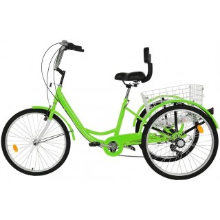Adult Tricycles, 7 Speed Adult Trikes 24 inch 3 Wheel Bikes with Large Basket & Adjustable Padded Seat for Recreation, Shopping, Picnics Exercise Men's Women's Cruiser Bike, W/ Installation Tools