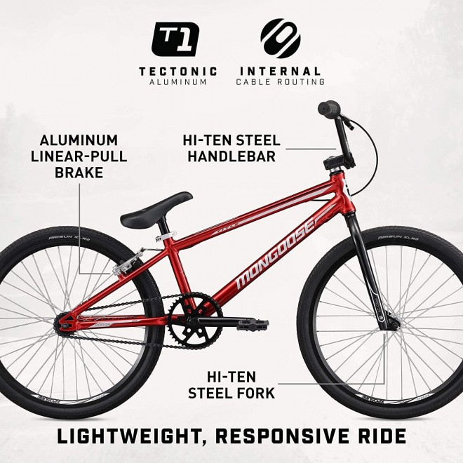 Mongoose Title 24 BMX Race Bike, 24-inch Wheels, Beginner or Returning Riders, Lightweight Tectonic T1 Aluminum Frame and Internal Cable Routing