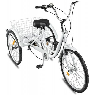Adult Tricycle 1/7 Speed 3-Wheel for Shopping W/Installation Tools