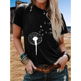 Floral Casual Crew Neck Shirts   Tops
