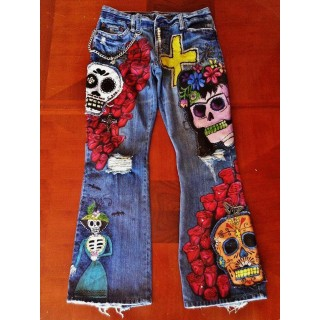 Heavy industry embroidered graf i denim trousers