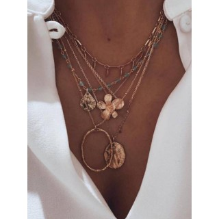 Flower   metal plate blue beads multilayer necklace